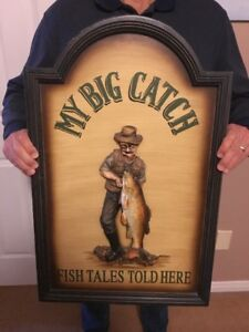 """COOL 3D FISHING DISPLAY PIECE LARGE """"MY BIG CATCH"""" HUGE FISH"""