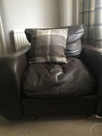 Brown real Italian leather chair