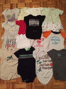 15 short sleeve onesies plus 2 button up t shirts 18-24 months