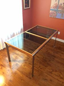 Drop Leaf, Mid-Century Modern French Glass & Chrome Dining Table
