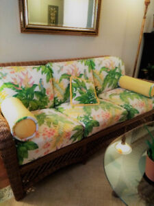 Beautiful Wicker Sofa with matching Coffee and Side Table