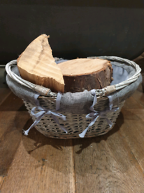 Wicker basket and logs