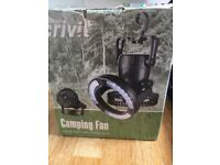 Camping LED light with fan