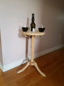 Wine bottle and glass holder table