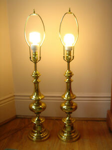 VintageSolid  BrassTable Lamps, matching pair, no shades