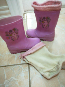 Girls size 11 (fits age 5) rain boots + liner