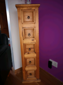 Mexican pine narrow cabinet