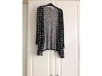 Black cardigan with white heart design size 18