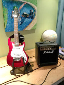 Kids Electric guitar with amp and kids acoustic guitar