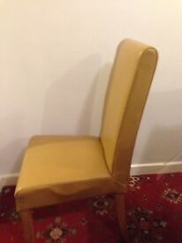 JOHN LEWIS PAIR OF LEATHER LIKE AND OAK CHAIRS