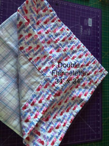 Double Flannelette Blanket with matching soother clip