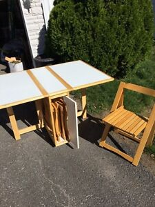 Wooden Folding table with chairs