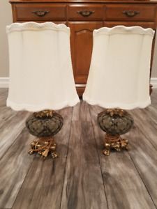 Vintage table lamps brass base with glass globe