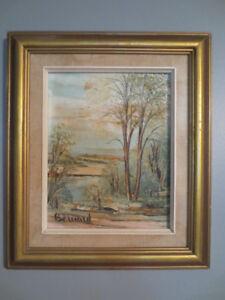 2 peintures à l'huile sur cadre en bois, 25$ chacune.