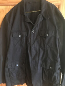 Men's jacket - XL like-new, black, cotton, zipper and buttons