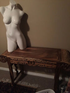 Hand Carved Wooden Console Table