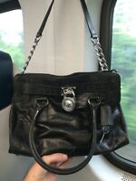 Auth Michael Kors small black leather bag