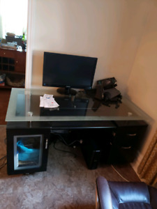 Glass top desk with cupboard and drawers