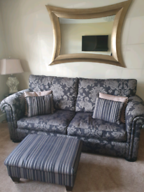 Duresta sofa bed, chair and foot stool.
