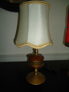 MID CENTURY TABLE LAMP - WOOD, BRASS BASE, WHITE SHADE