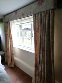 1pr interlined Curtains, 1 Door curtain, 1 pole and pelmet