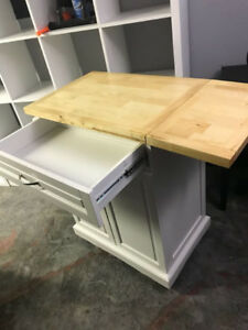 NEW IN BOX - White Kitchen Cart with Solid Wood Top