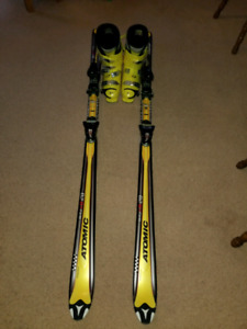 Atomic skis and Rossignol ski boots.