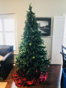 Christmas Tree with white lights, 8 Feet tall.