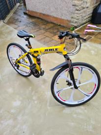folding mountain bike 6 spoke wheels disk brakes
