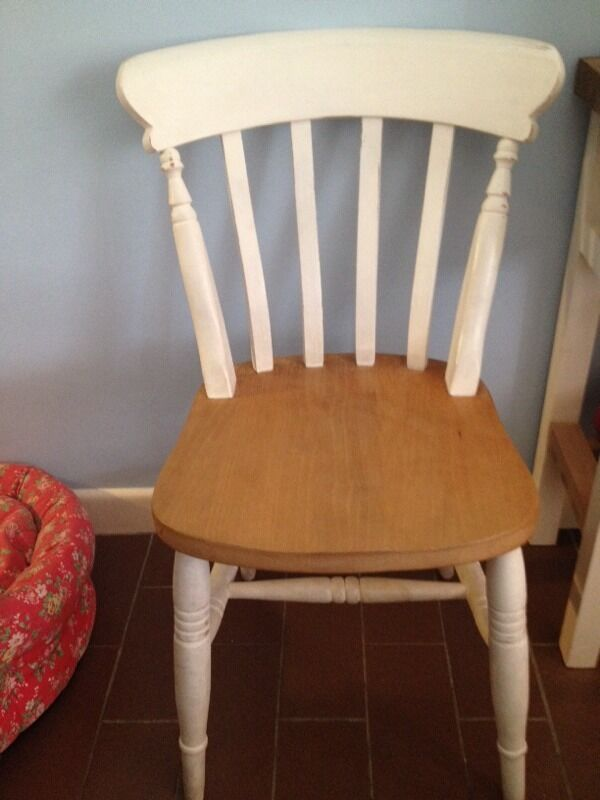 Farmhouse shabby chic chunky solid beech wood dining chairs x4
