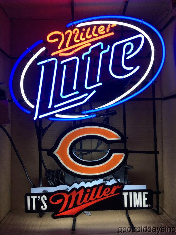 Nice Miller Lite Chicago Bears Neon Beer Sign Bar Light