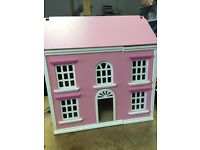 Pink dolls house & accessories