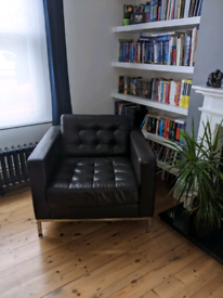 2 x Large Leather Chairs - Matching Pair