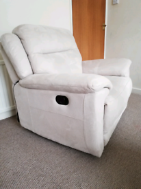 Manual reclining armchair, suede leather, beige colour, ex display