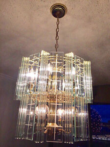 Crystal and brass chandelier (one main and three small for foyer