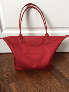 Longchamp Red Le Pliage Neo Tote Bag