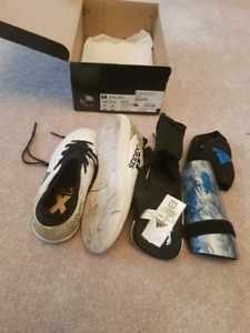 12t kids indoor soccer shoes and shin guards