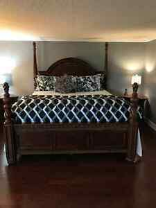 Solid Wood 5 Piece Bedroom Set - King Size :Immaculate Condition