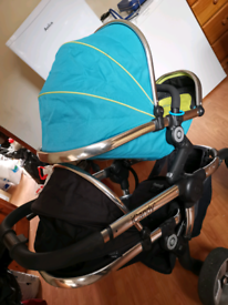 icandy blue double buggy / pram with 2 good condition raincovers