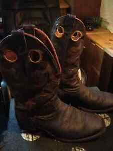 Squaretoed Dark brown bull hide Boulet Cowboy boots $120 Kingston Kingston Area image 2
