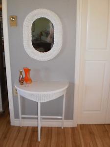 Wicker Table & Mirror