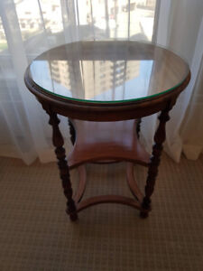 Wooden round tall occasional table