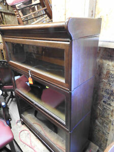 antique lawyers barristers bookcase 3 level