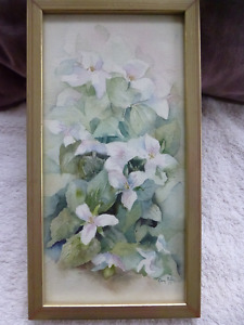 watercolour painting of trilliums
