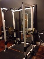 Commercial Olympic Squat Rack w/ barbell and weights