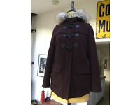 Burgundy New Look Coat with Fur Lined Hood, size 10