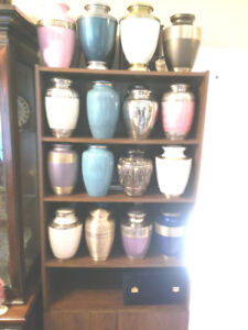 SELECTION OF CREMATION URNS AT $175 TAXES IN, FUNERAL HOME PRICE