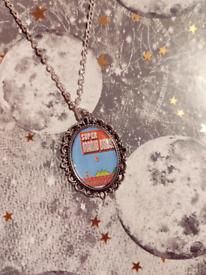 Vintage Super Mario Silver Cameo Charm Necklace