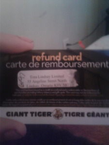 Giant Tiger Refund card with $64.97