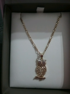 9CT GOLD FIGARO CHAIN & 9CT GOLD OWL PENDANT.